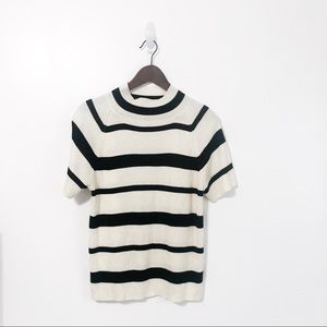 VTG Striped Mock Neck Short Sleeve Sweater